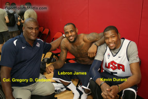 Colonel Gadson w LeBron James and Kevin Durant 2012